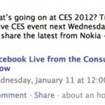 Nokia Facebook evento al CES 11 Gennaio 2012 : Cosa bolle in pentola?!