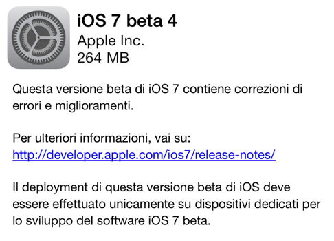 Download iOS 7 beta 4 build 11A4435d per iPhone 5