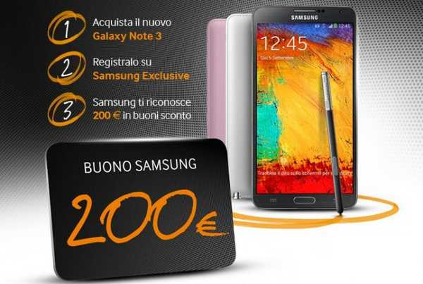 200 euro in regalo per chi acquista un Galaxy Note 3