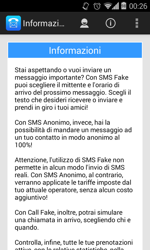 SMS e chiamate false e anonime per Android Download App