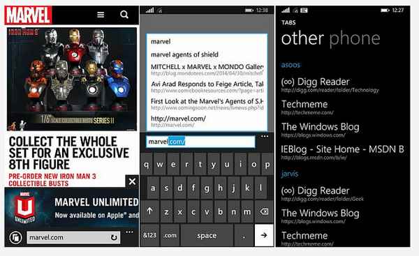 Internet Explorer 11 per Nokia Lumia Windows Phone 8.1 Microsoft Mobile