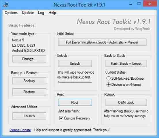 Android 5 Lollipop root e unroot del telefono con Nexus Root Toolkit