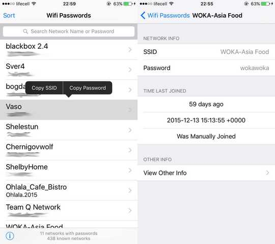 iPhone iPad visualizzare password WiFi salvate su iOS