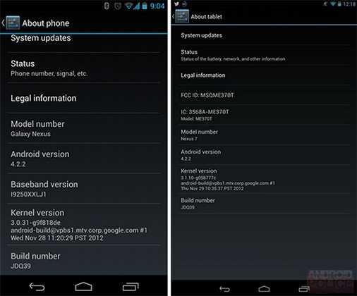 Android 4.2.2 per Nexus 4, Nexus 7 e Nexus 10