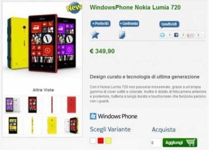 prezzo e disponibilità nokia Lumia 720