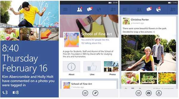 Facebook per smartphone Windows Phone 8