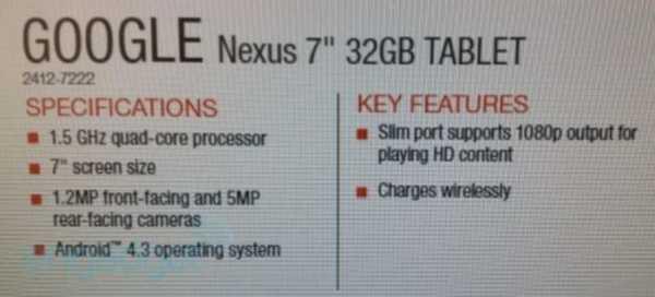Nuovo Nexus 7 2 Avr? Andoid 4.3 e la ricarica Wireless on board
