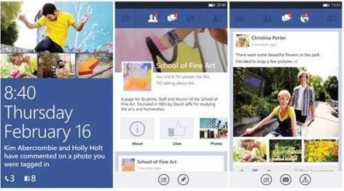 Facebook beta per Nokia Lumia WP8 aggiornamento Add emoticons e stato
