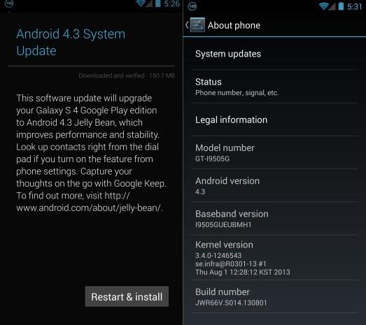 Android 4.3 su Galaxy S4 e HTC One Google Edition inizia il rilascio !