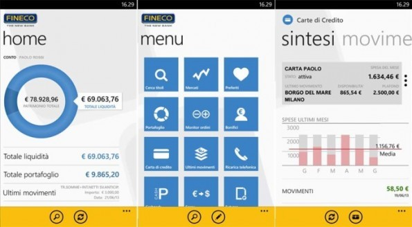 L' App banca FINECO per Windows Phone 8