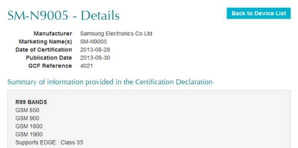 Galaxy Note 3 SM-N9005 Samsung arriva la certificazione GCF