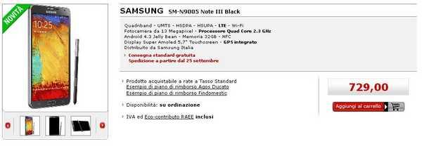Samsung Galaxy Note 3 Italia Mediaworld disponibile prezzo 729 €