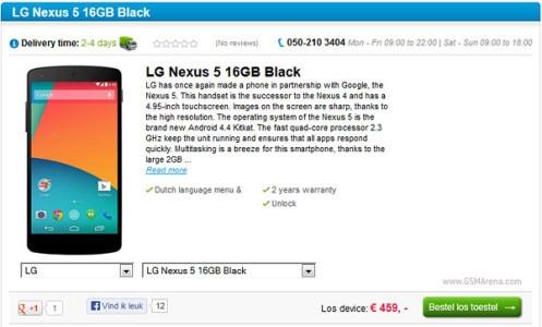 Nexus 5 con disponibilit immediata gi in vendita al prezzo 459