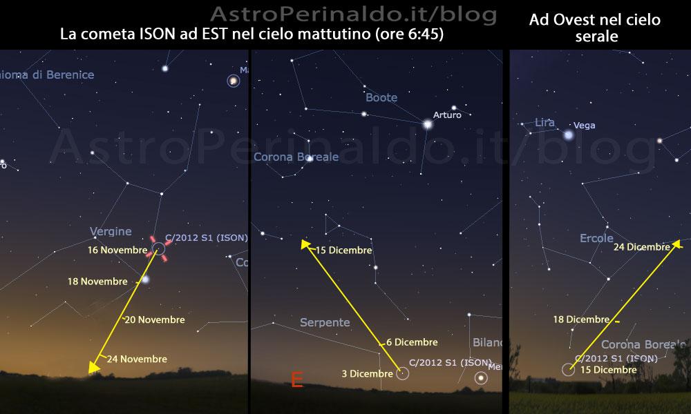 Cometa ISON dove vederla nel cielo la mappa stellare sul telefono