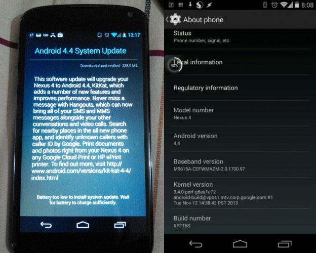 Android 4.1 Kitkat Per nexus 4 dipsonibile per l' aggiornamento