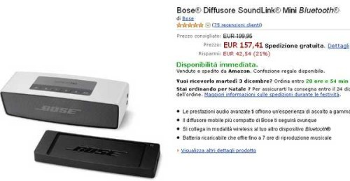 Regalo Natale Bose Diffusore SoundLink Mini Bluetooth Prezzo sottocosto