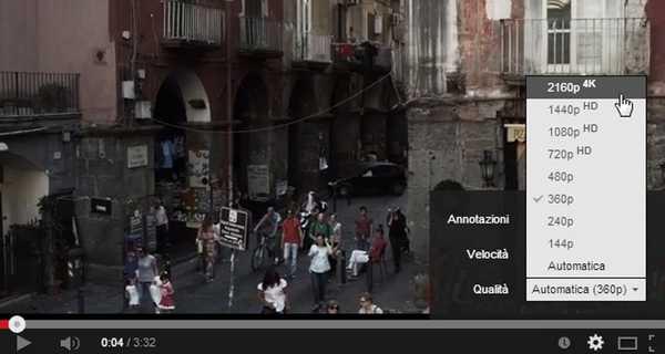 Youtube inserisce la risoluzione 4K 1440p e 2160p super HD