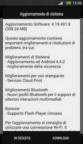 Aggiornamento HTC One Android 442 KitKat Download