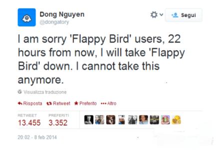 Flappy Bird scompare dal Play Store di Android e Apple ritirato dallautore