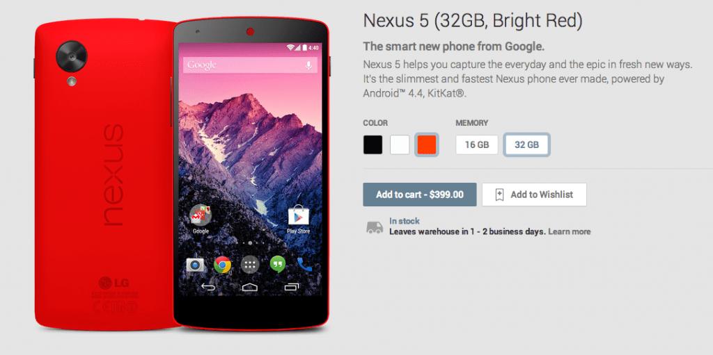 Nexus 5 Rosso disponibile sul Google Play Prezzo e disponimilità