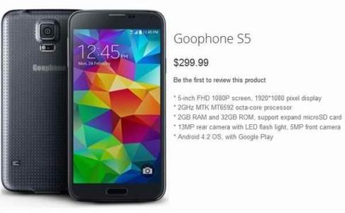 Clone Cinese Galaxy S5 il GooPhone S5 pi veloce