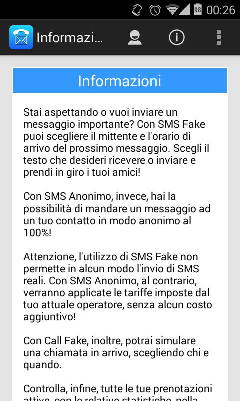 SMS e chiamate false e anonime per Android Download App
