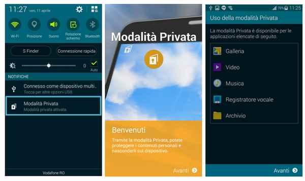 Galaxy S5 Che cosa è la Modalità privata sul telefono Samsung