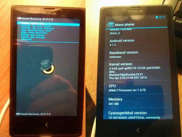 Nokia X recovery ClockWorkMod e TWRP e Android 4.1.2