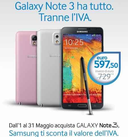 Samsung Note 3 Super sconto ! Dal prezzo viene scontata l'IVA del 22%