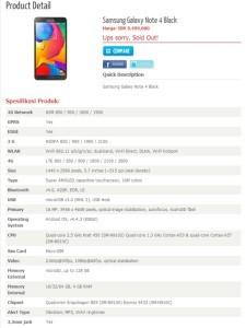 Samsung Galaxy Note 4 con 4 Giga Ram Caratteristiche e prezzo in indonesia
