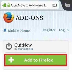Firefox Android Come uscire dall' App Aggiungere comando Esci