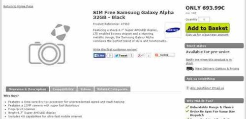 caratteristiche tecniche samsung galaxy alpha