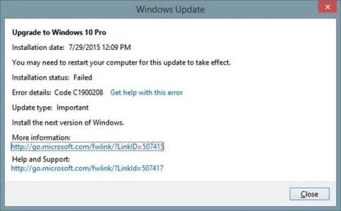 Windows 10 Errore C1900208 durante aggiornamento soluzione