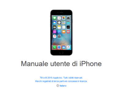 iPhone iOS 9 manuale italiano e libretto istruzioni