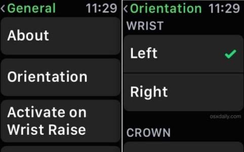 Apple Watch cambiare orientamento sinistra destra icone display