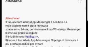 Truffa WhatsApp a pagamento non pagare
