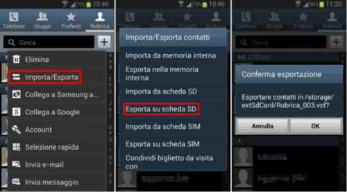Samsung Galaxy S8 portare contatti su scheda Sim