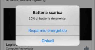 iPhone 8 iOS 11 attivare risparmio energetico