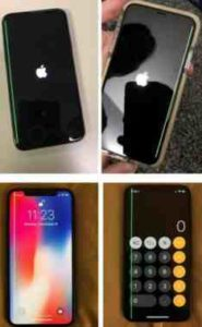 iPhone X riga verde verticale