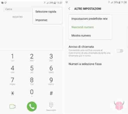 nascondere numero telefono Samsung Galaxy S9, come nascondere proprio numero telefonico, non mostrare numero telefonico con Galaxy S9.