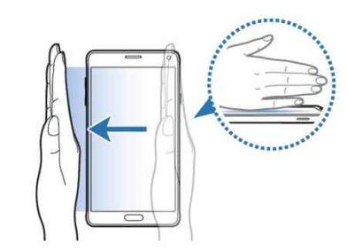 Catturare schermata con il palmo della mano su Samsun