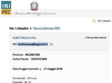 indirizzo posta elettronica PEC ILIAD
