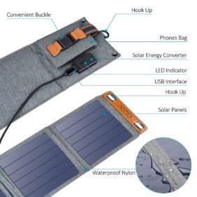 CHOETECH Caricabatteria Solare, 14W Caricabatterie Solare Portatile Pieghevole, Impermeabile per tutti i Telefoni, iPad, Fotocamera, Tablet, altoparlanti Bluetooth