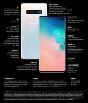 Caratetristiche tecniche Samsung Galaxy S10 Plus