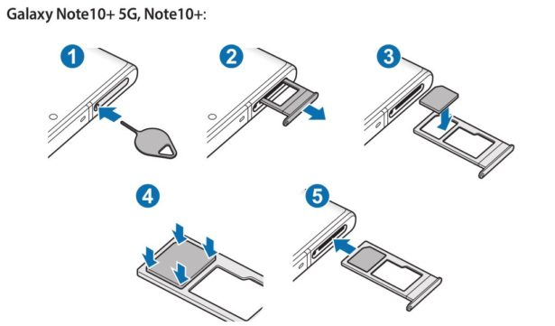 Inserire SIM Samsung Note 10