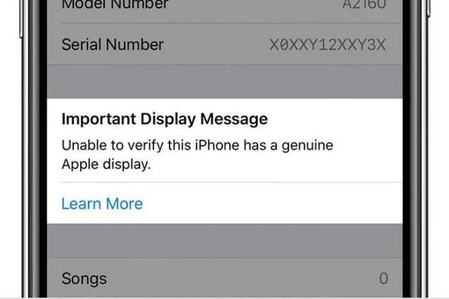 errore display non originale iphone 11