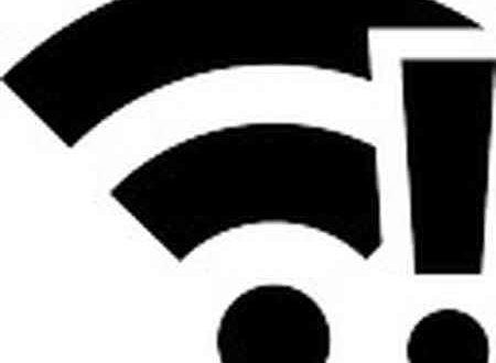 Simbolo Wi-Fi con punto esclamativo