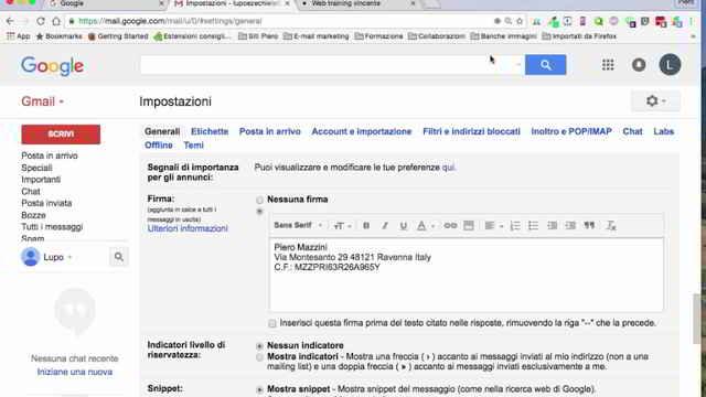 Usare più firme Gmail