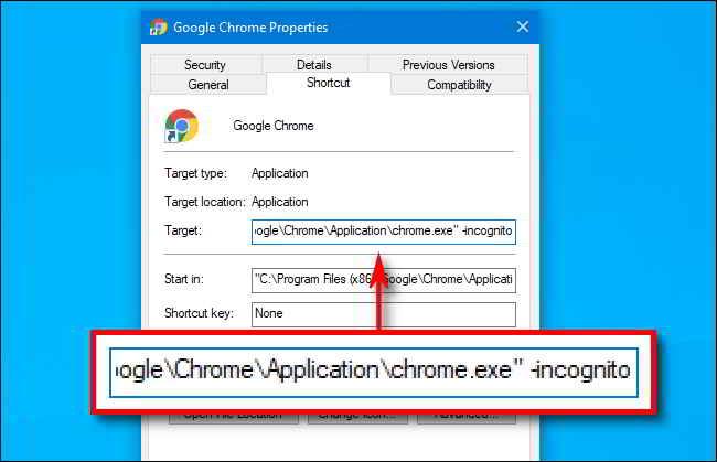 Avviare sempre navigazione anonima Chrome su Windows 10