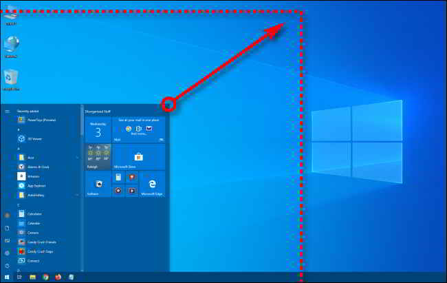 ridimensionare menu Start Windows 10